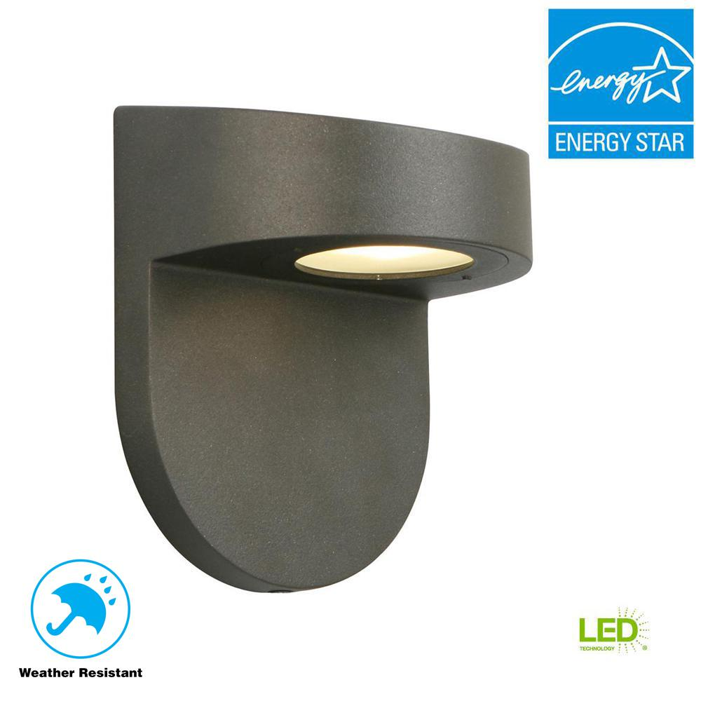 Black Outdoor Led Wall Lantern With Frosted Gl