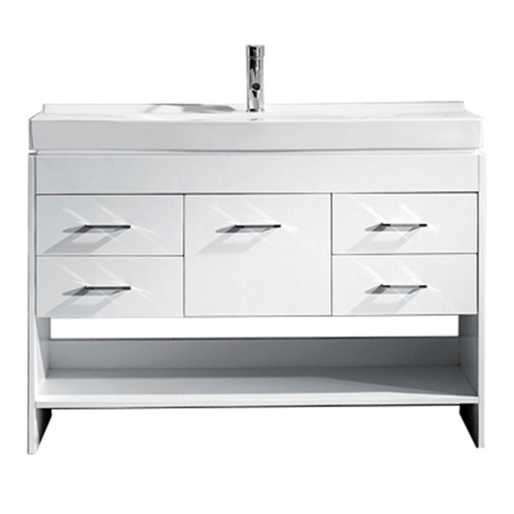 Virtu USA Gloria 48 in. W Bath Vanity in White with Ceramic Vanity Top in White Ceramic with Square Basin and Faucet