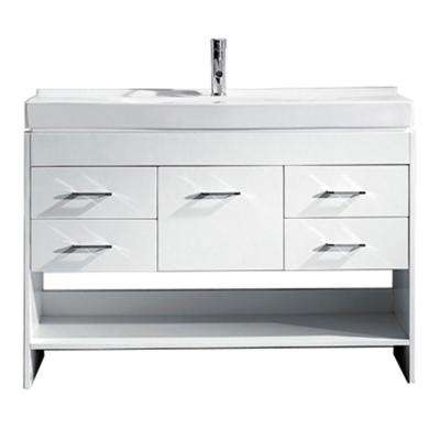 Gloria 48 in. W Bath Vanity in White with Ceramic Vanity Top in White Ceramic with Square Basin and Faucet