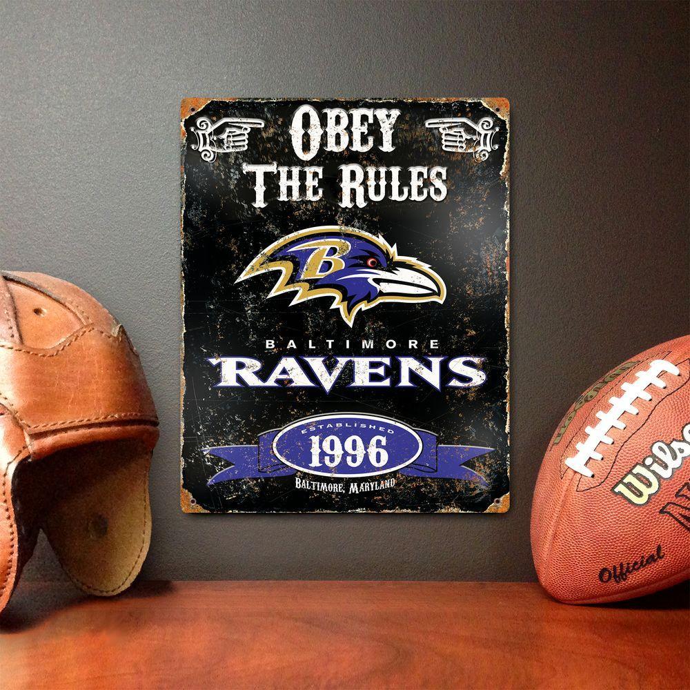 14.5 in. H x 11.5 in. D Heavy Duty Steel Baltimore Ravens Embossed Metal Sign Wall Art
