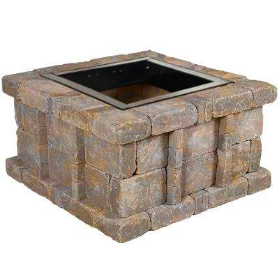 RumbleStone 38.5 in. x 21 in. Square Concrete Fire Pit Kit No. 5 in Sierra Blend