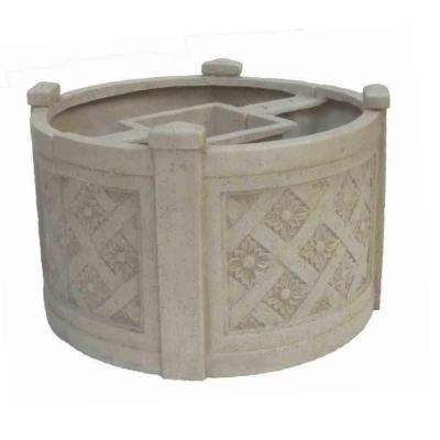 18 in. Dia White Cast Stone Mailbox Planter