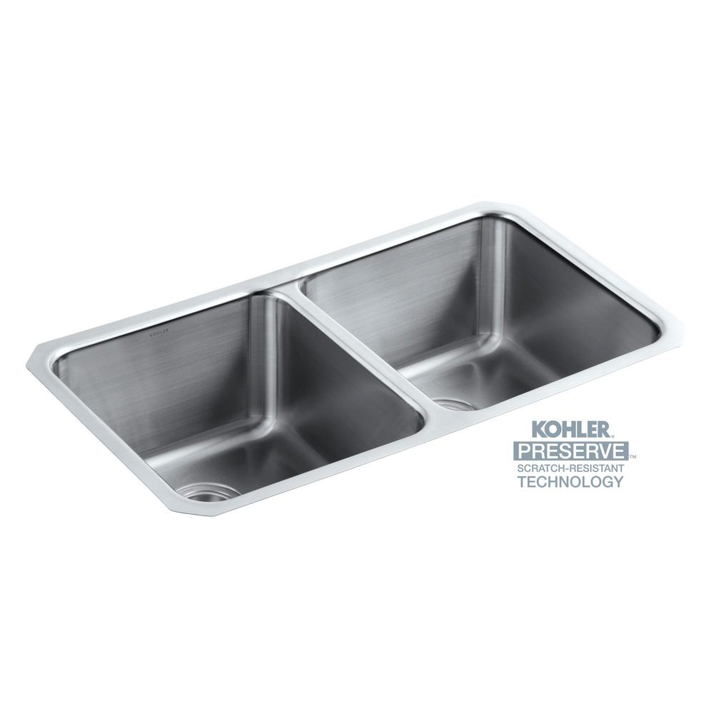 Kohler Undertone Preserve Undermount Stainless Steel 32 In Double Bowl Scratch Resistant Kitchen Sink