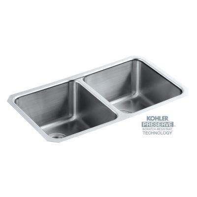 Undertone Preserve Undermount Stainless Steel 32 In. Double Bowl  Scratch Resistant Kitchen Sink Kit