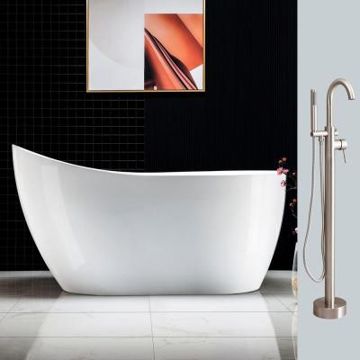 Aubrey 54 in. Acrylic FlatBottom Single Slipper Bathtub with Polished Chrome Overflow and Drain Included in White