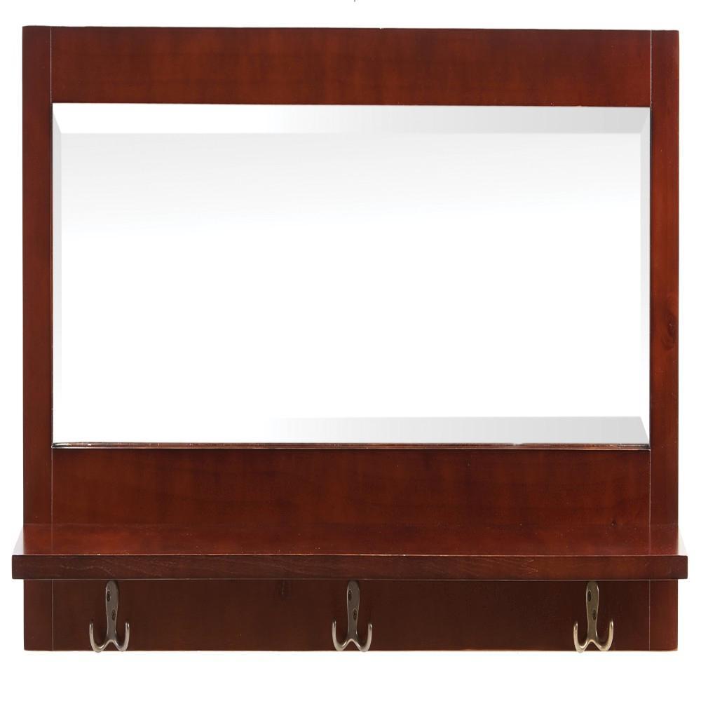 Home Decorators Collection Bismark Smokey Brown Modular Wall Shelf with Hooks and Mirror