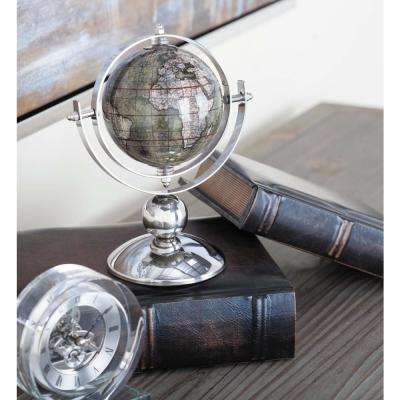 9 in. x 6 in. Modern Decorative Globe in Brown and Silver