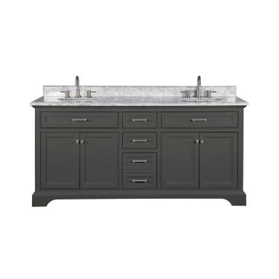 Windlowe 73 in. W x 22 in. D x 35 in. H Bath Vanity in Gray with Carrara Marble Vanity Top in White with White Sink