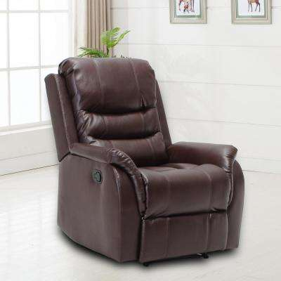 Stanley Oversized Brown Faux Leather Recliner