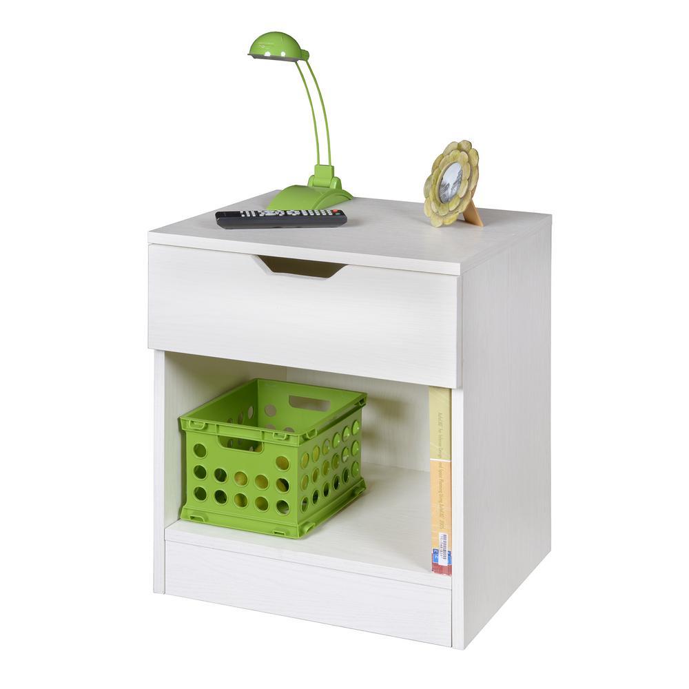 Mod 1-Drawer White Wood Grain Nightstand