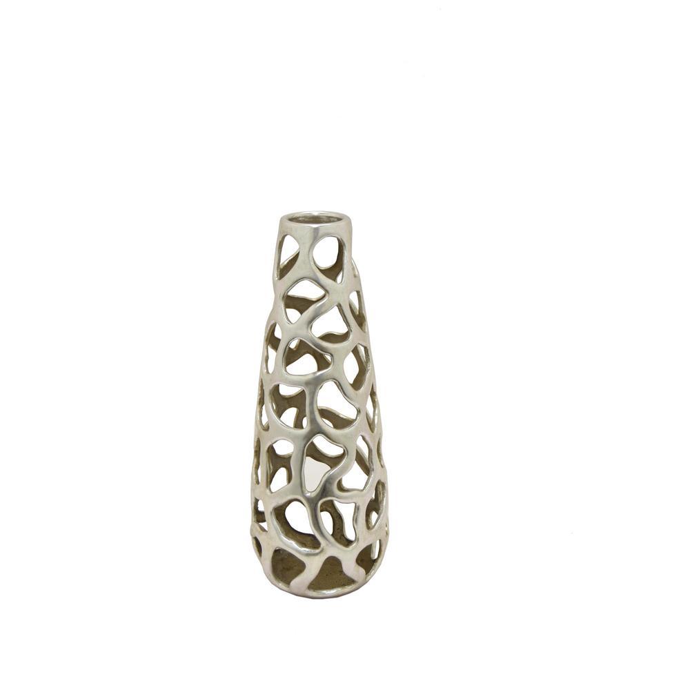 Resin Pierced Silver Vase