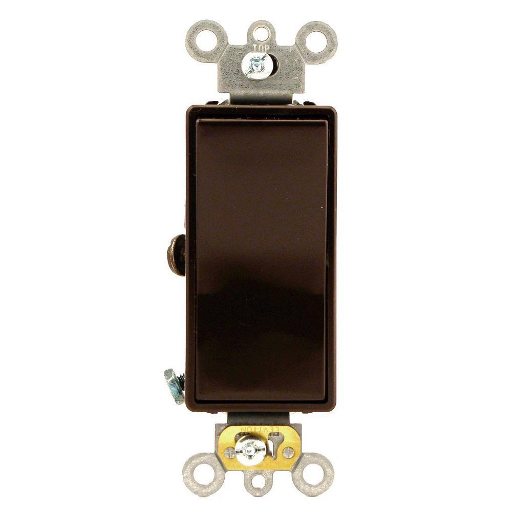 20 Amp Decora Plus Commercial Grade 3-Way Rocker Switch, Brown