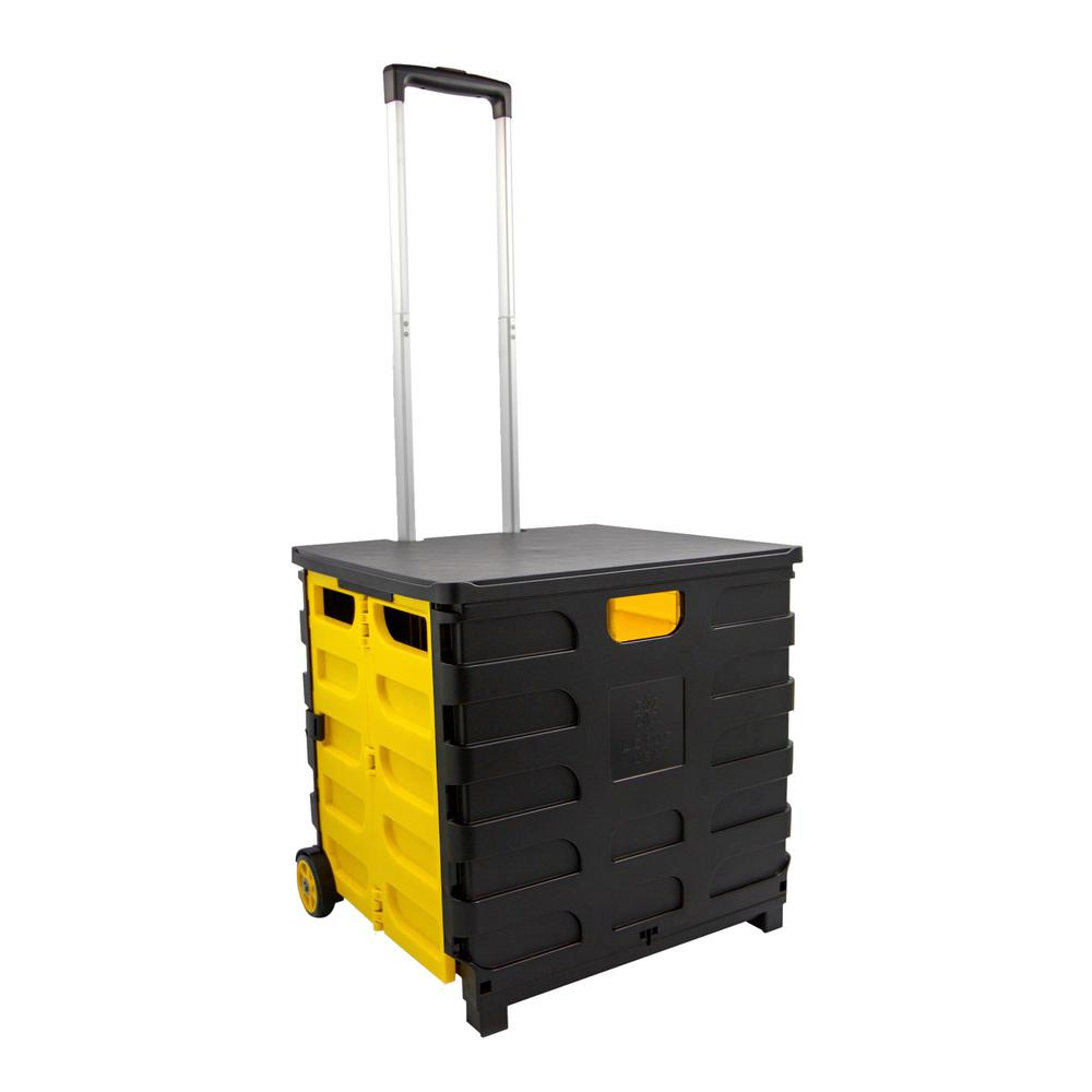 Lotus Usa Foldable 60 Qt Rolling Crate In Yellow Black Fr60yk The Home Depot
