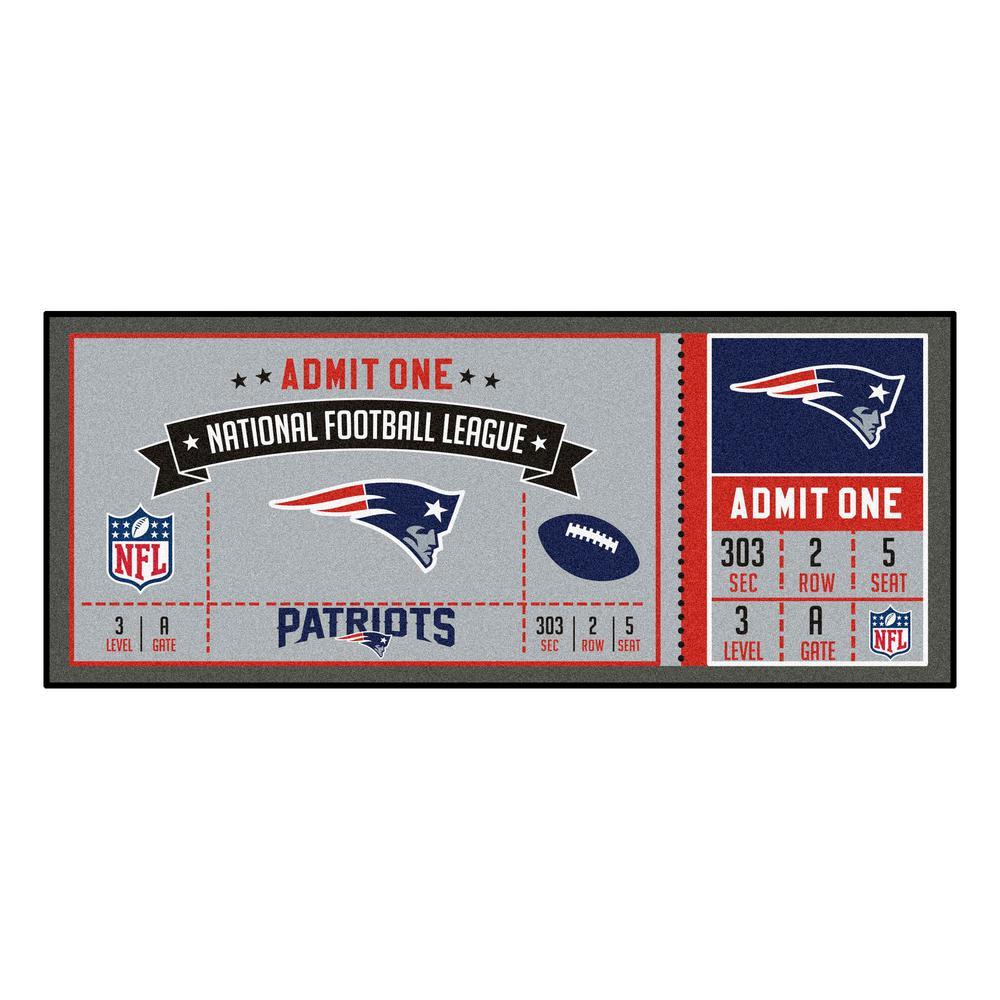 NFL - New England Patriots 30 in. x 72 in. Indoor Ticket Runner Rug