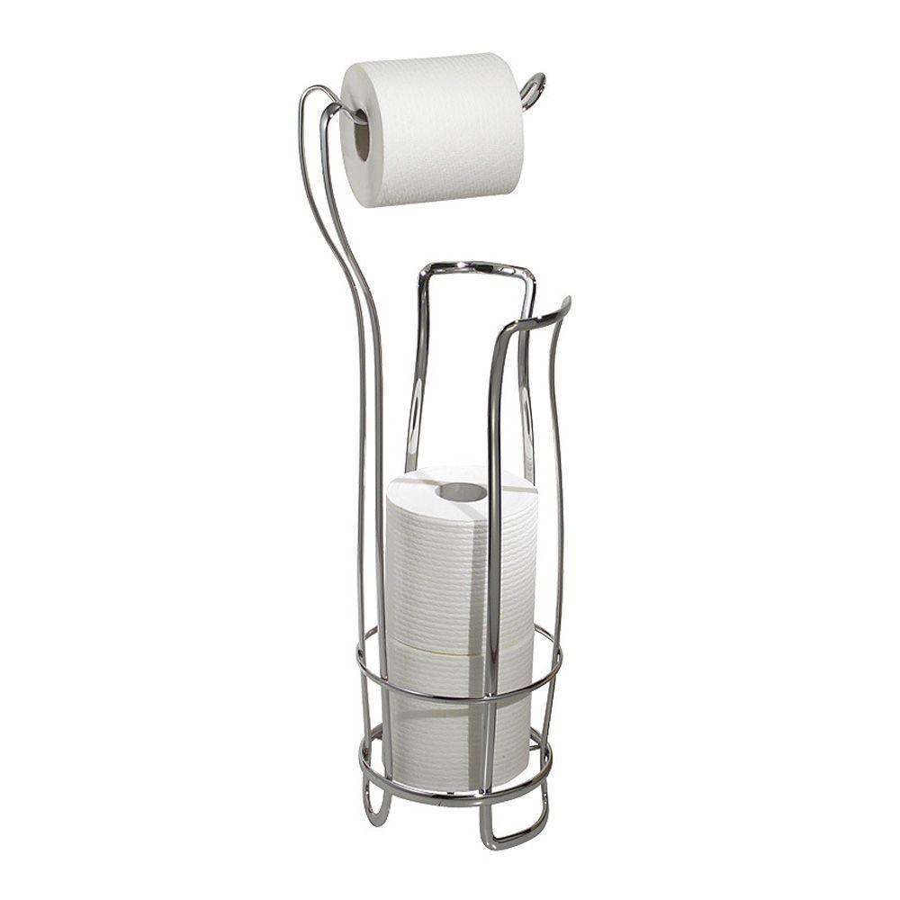 Interdesign axis freestanding toilet paper holder plus in chrome 55662 the home depot - Interdesign toilet paper holder ...