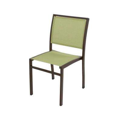 Bayline Textured Bronze All-Weather Plastic/Sling Outdoor Dining Side Chair in Kiwi