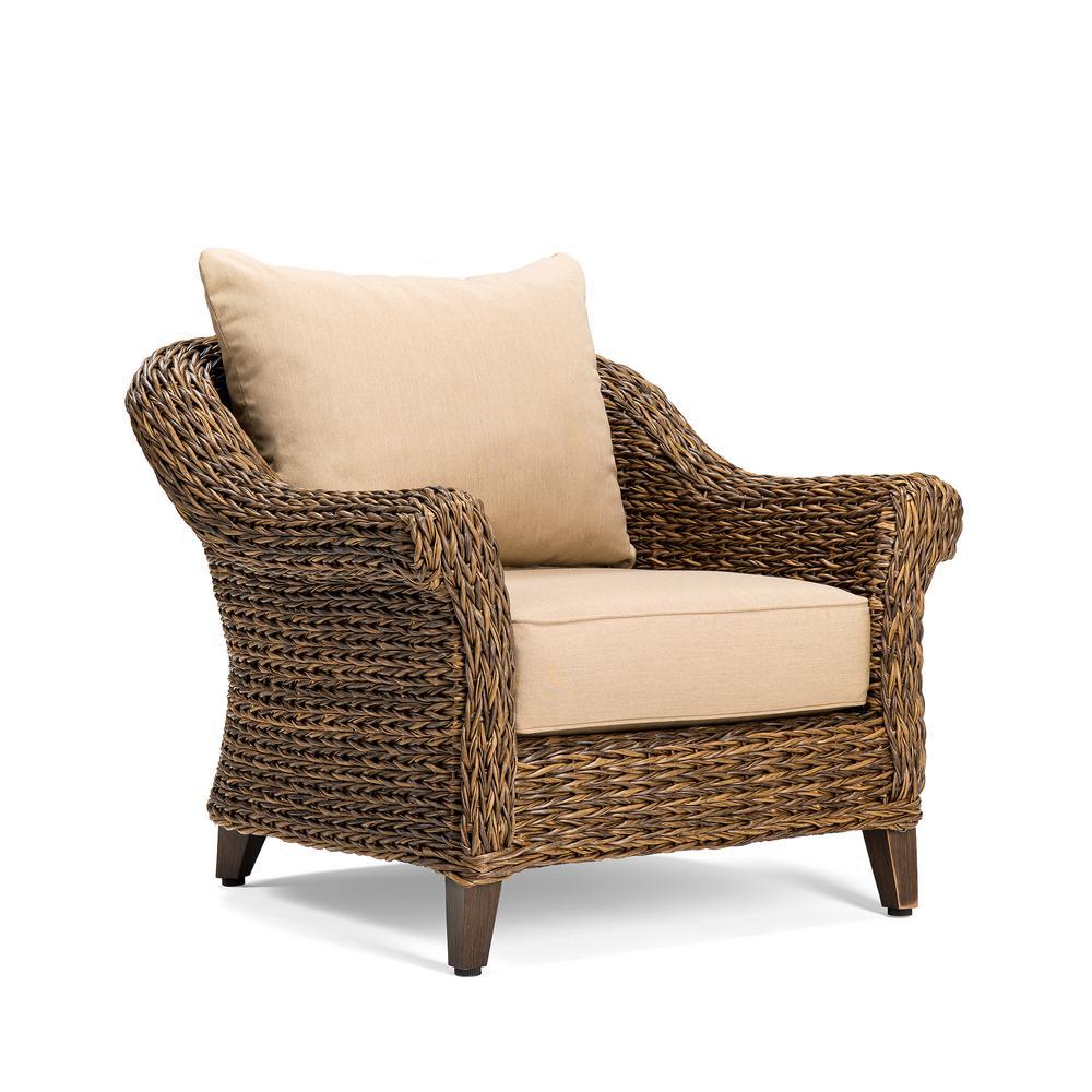 BLUE OAK Bahamas Wicker Outdoor Lounge Chair with Sunbrella Canvas Heather Beige Cushion by BLUE OAK
