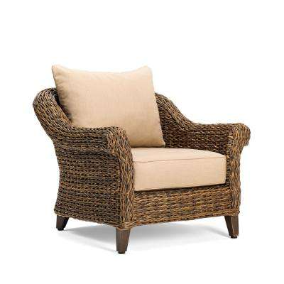 Bahamas Wicker Outdoor Lounge Chair with Sunbrella Canvas Heather Beige Cushion
