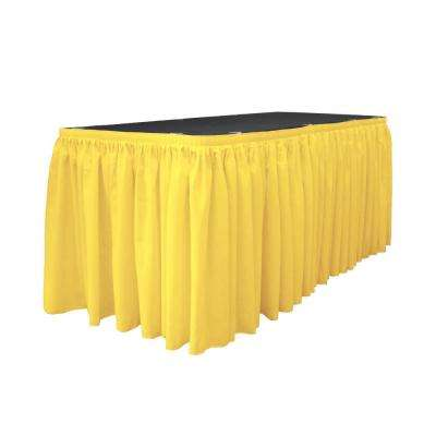 30 ft. x 29 in. Long Light Yellow Polyester Poplin Table Skirt with 15 L-Clips