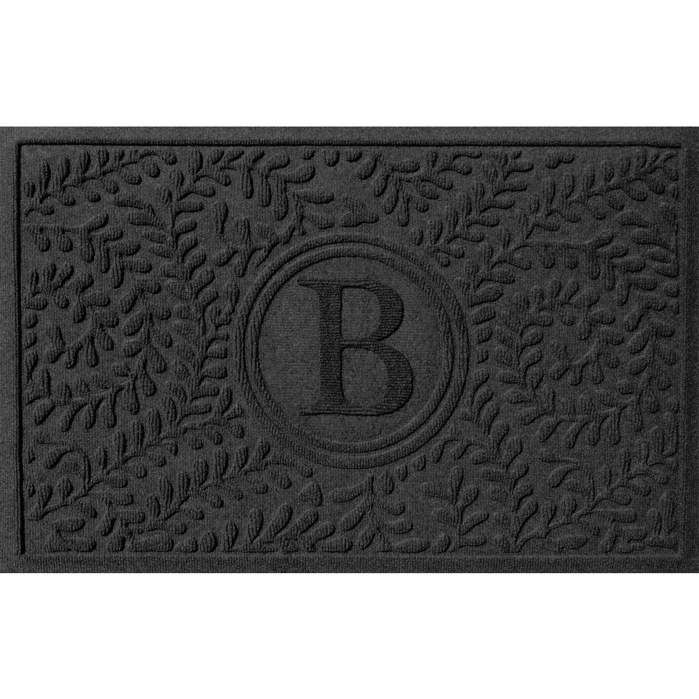 Boxwood Charcoal 24 in. x 36 in. Monogram B Door Mat