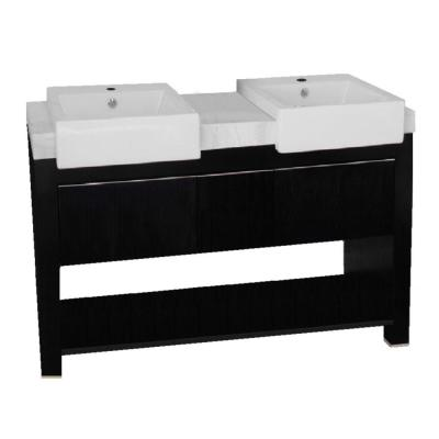 Kinley 58 in. W x 20 in. D x 36 in. H Double Vanity in Black Oak with Marble Vanity Top in White with White Basins