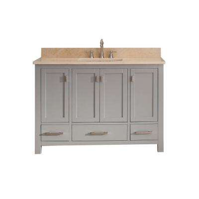 Modero 49 in. W x 22 in. D x 35 in. H Vanity in Chilled Gray with Marble Vanity Top in Galala Beige and White Basin