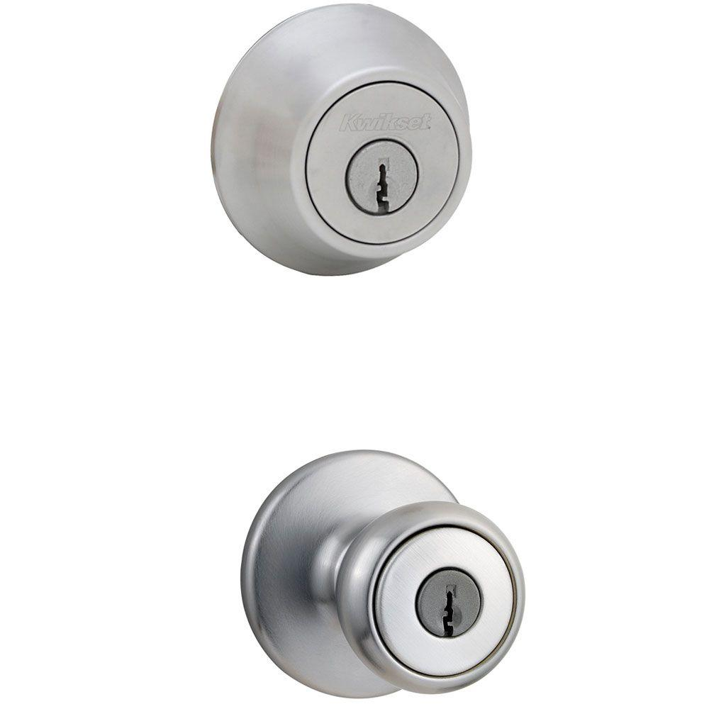 Kwikset Tylo Satin Chrome Exterior Entry Knob And Double Cylinder Deadbolt  Combo Pack