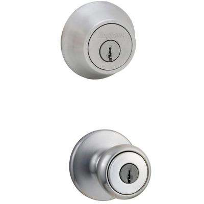 Tylo Satin Chrome Exterior Entry Door Knob and Double Cylinder Deadbolt Combo Pack
