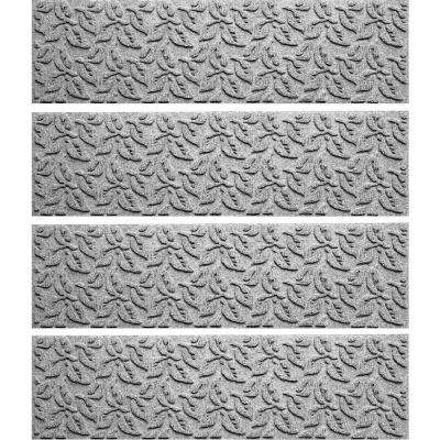 Medium Gray 8.5 in. x 30 in. Dogwood Leaf Stair Tread Cover (Set of 4)