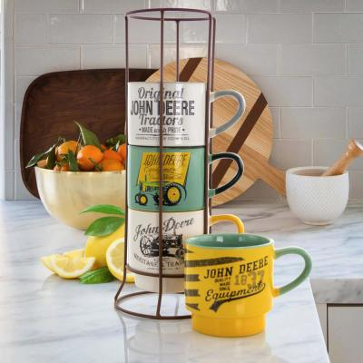 13.50 oz. Multicolored Stoneware Stackable Cup Set with Metal Rack (Set of 5)