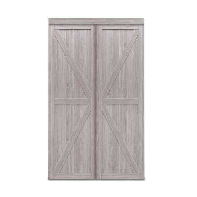 72 in. x 80 in. Trident Silver Oak MDF Sliding Door