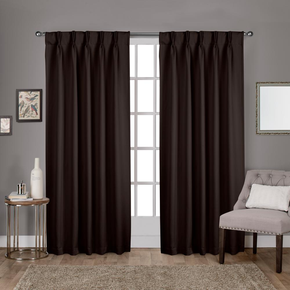 Sateen 30 in. W x 96 in. L Woven Blackout Pinch Pleat Top Curtain Panel in Espresso (2 Panels)