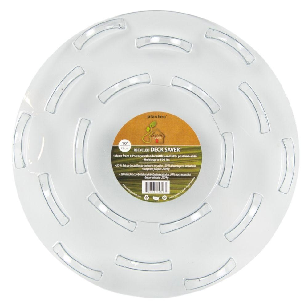 Plastec 10 in. Deck Saver Recycled Plastic Saucer