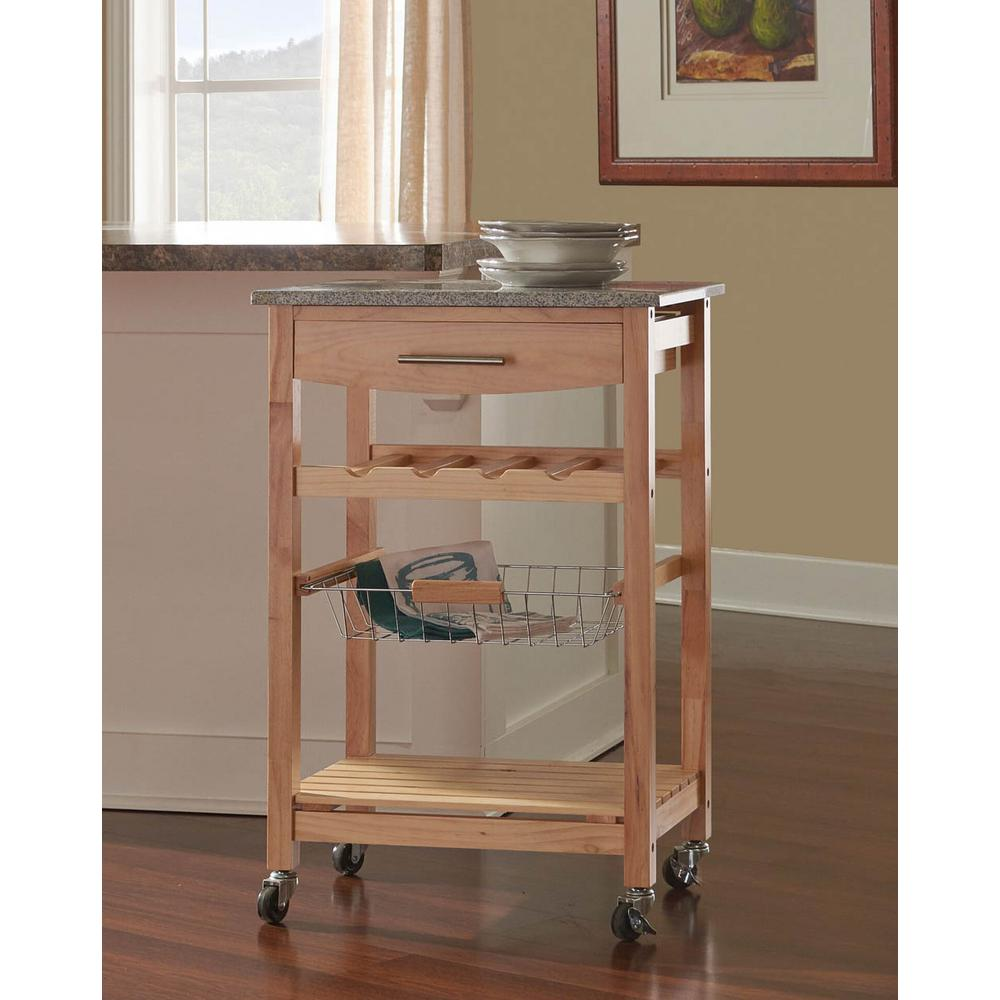 22. in. W Granite Top Kitchen Island Cart-44037NAT-01-KD-U - The ...