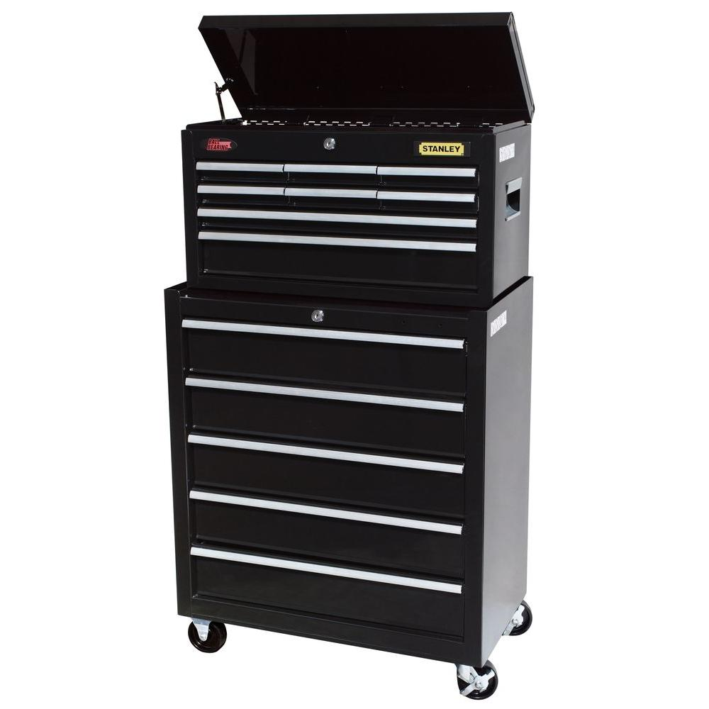 Stanley 24 in. 13-Drawer Chest and Cabinet Set, Black