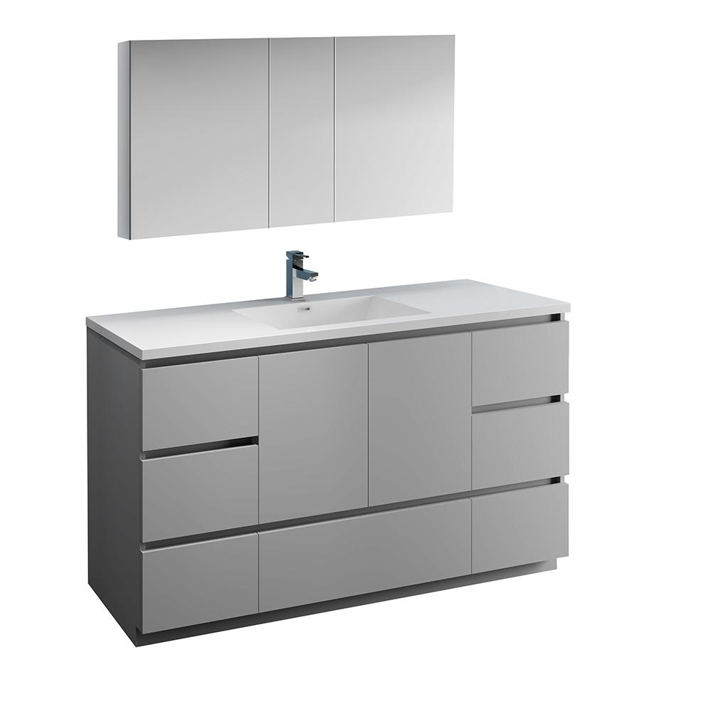 innovative design e797d 13479 Fresca Lazzaro 60 in. Modern Bathroom Vanity in Gray with Vanity Top in  White with White Basin and Medicine Cabinet