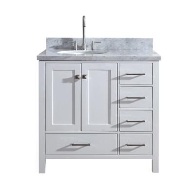 Cambridge 37 in. Bath Vanity in White with Marble Vanity Top in Carrara White with White Basin