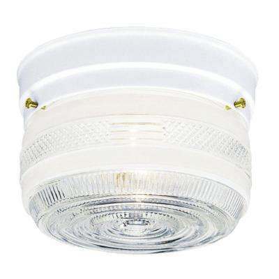 1-Light Ceiling Fixture White Interior Flush-Mount with White and Clear Glass