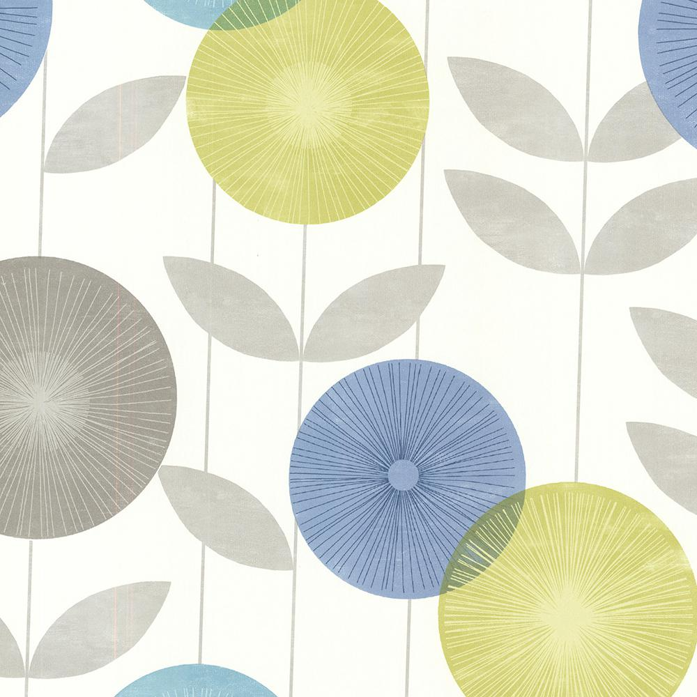 56.4 sq. ft. Monroe Aquamarine Modern Floral Wallpaper