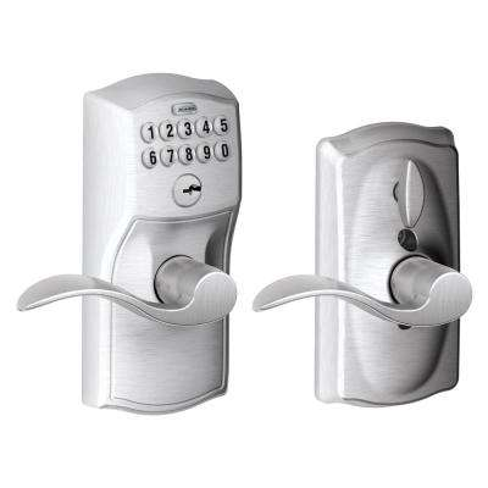 Camelot Satin Chrome Electronic Door Lock with Accent Door Lever Featuring Flex Lock