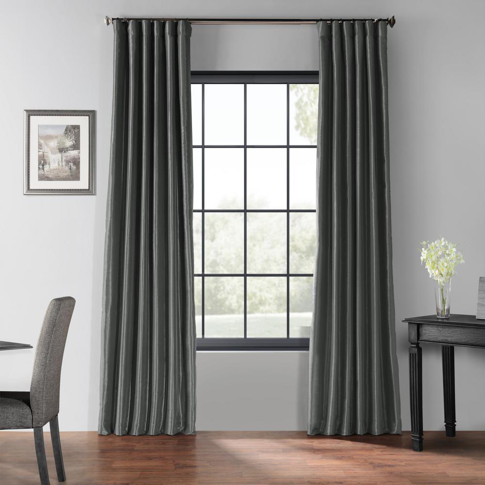 Arrowhead Gray Blackout Vintage Textured Faux Dupioni Silk Curtain - 50 in. W x 120 in. L