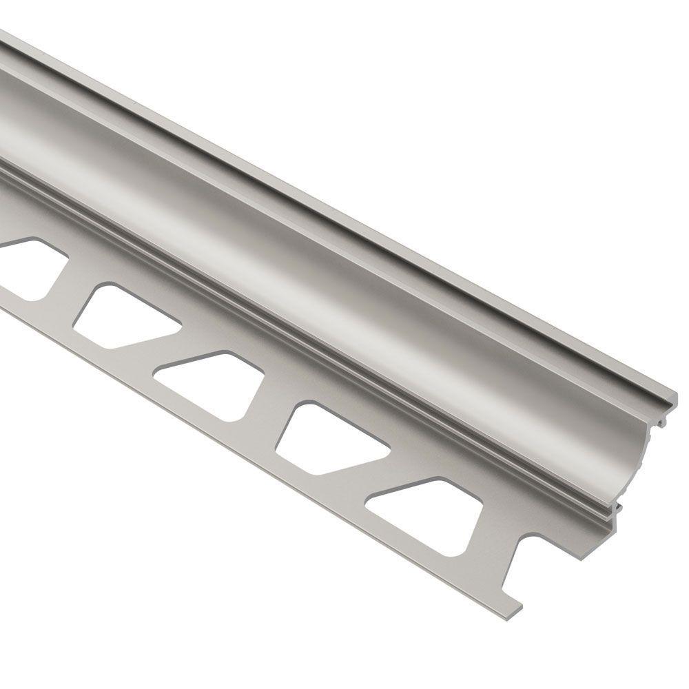 Dilex-AHK Satin Nickel Anodized Aluminum 3/8 in. x 8 ft. 2-1/2 in. Metal Cove-Shaped Tile Edging Trim