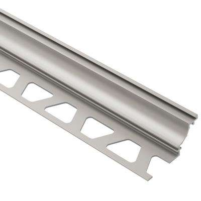 Dilex-AHK Satin Nickel Anodized Aluminum 3/8 in. x 8 ft. 2-1/2 in. Metal Cove-Shaped Tile Edging Trim