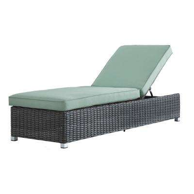 Camari Charcoal Wicker Adjustable Outdoor Chaise Lounge Chair With Blue  Cushion