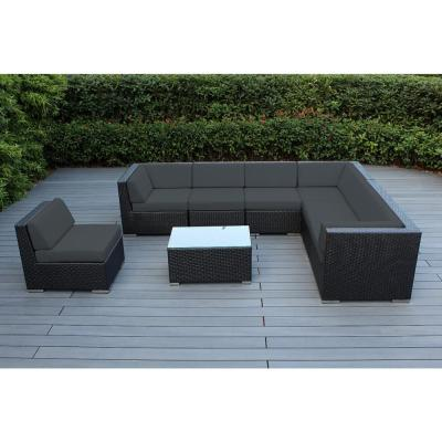 Black 8-Piece Wicker Patio Seating Set with Supercrylic Gray Cushions