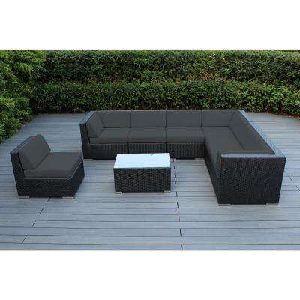 Black 8-Piece Wicker Patio Seating Set with Spuncrylic Gray Cushions