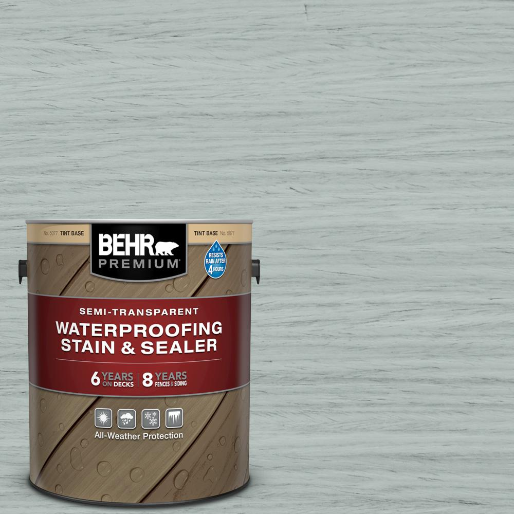BEHR PREMIUM 1 gal. #ST-365 Cape Cod Gray Semi-Transparent Waterproofing Exterior Wood Stain and Sealer