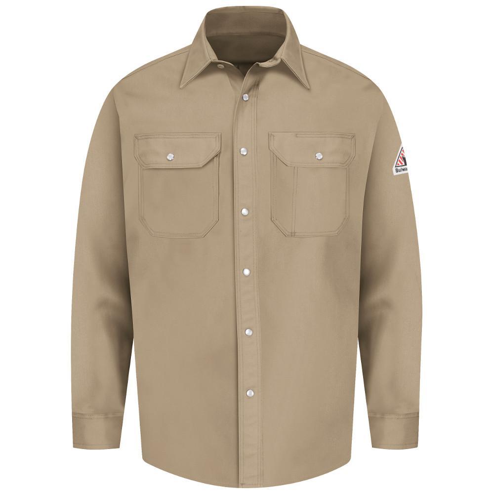 EXCEL FR Men's Large (Tall) Tan Snap-Front Uniform Shirt