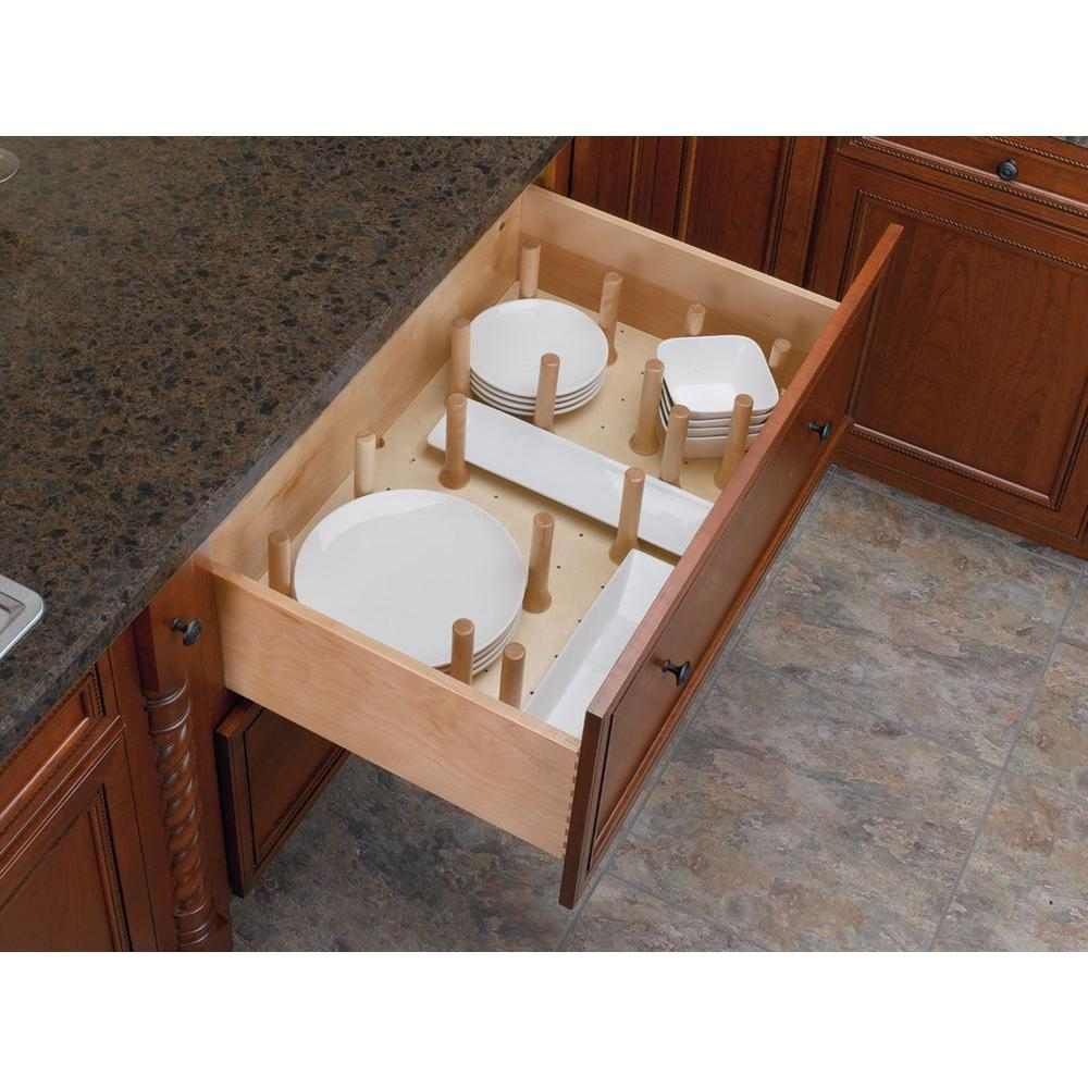 Rev-A-Shelf 6.62 in. H x 24.25 in. W x 21.25 in. D Small Cabinet Drawer Peg System Insert with Wood Pegs