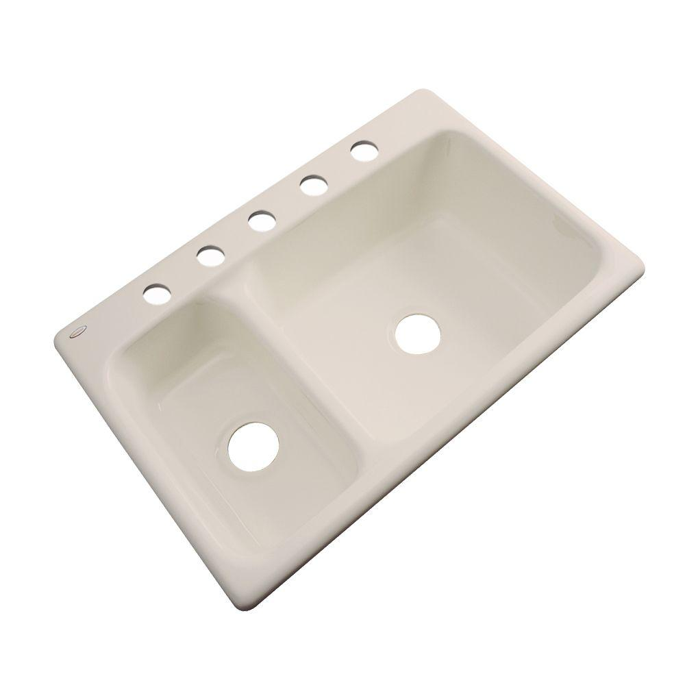 Thermocast Wyndham Drop-In Acrylic 33 in. 5-Hole Double Bowl Kitchen Sink in Candle Lyte